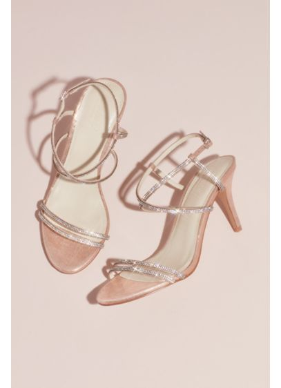 cb90baeed1cf Skinny-Strap Crisscross Glitter Heels | David's Bridal
