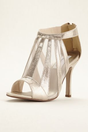 Dyeables Grey;Ivory Heeled Sandals (Lotus Metallic Shimmer Bootie)
