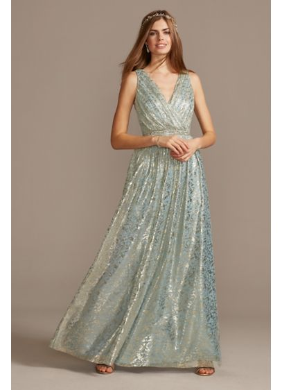 Metallic Foil Pleated V-Neck Gown with Belt - Channel your inner Greek goddess in this pleated