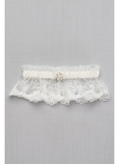 Scalloped Lace Garter with Pearl Detail - Wedding Accessories