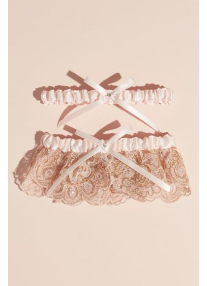Blush Scalloped Lace and Satin Bow Garter Set - Metallic scalloped lace, embellished with stones and rich
