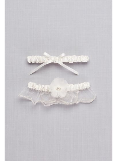 Adjustable Embellished Satin Garter Set - This set of two features a delicate, traditional
