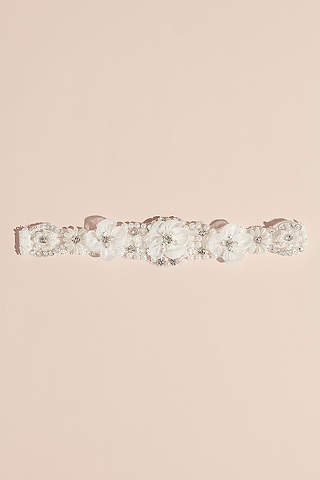 Liguero De Cristales Perlas Y Flores