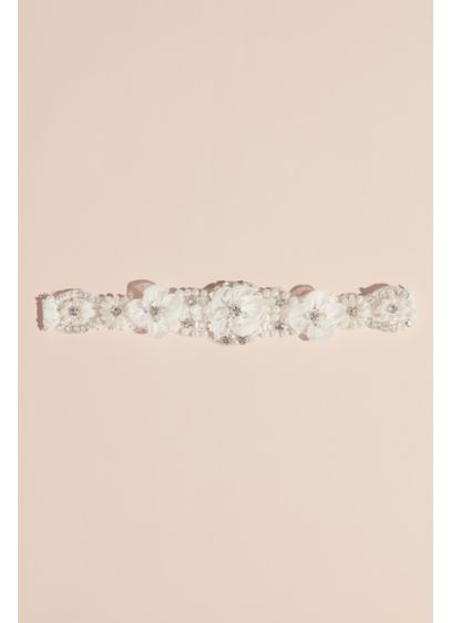 Pearl and Crystal Garter with Organza Flowers - Add this blooming garter to your wedding-day look