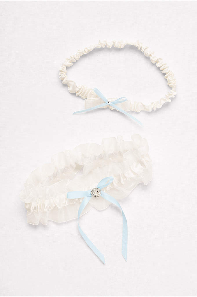 Ruffled Organza Garter Set with Ribbon Bows - Pretty organza ruffles trim this classic satin garter