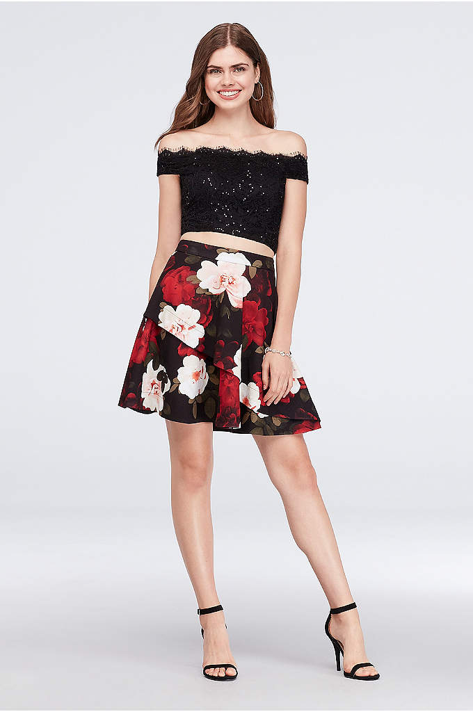 Lace and Printed Scuba Crepe Two-Piece Dress - Scalloped lace and bold flowers make an impactful