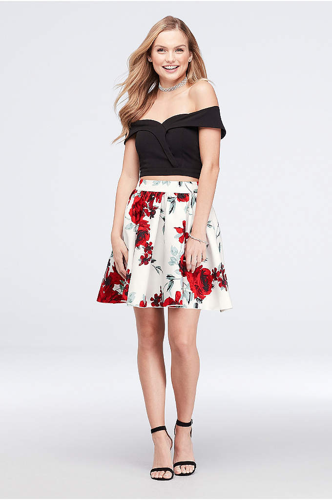 Two-Piece Crepe and Printed Satin Dress - Two pieces equals twice the fun. After you