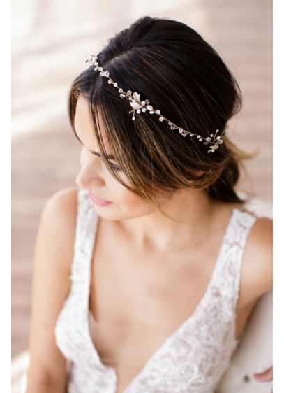 Halo Headband with Crystals and Freshwater Pearls - Wedding Accessories