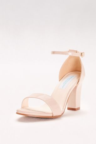 Dyeables Beige;Grey (Patent Ankle-Strap Block Heel Sandals)