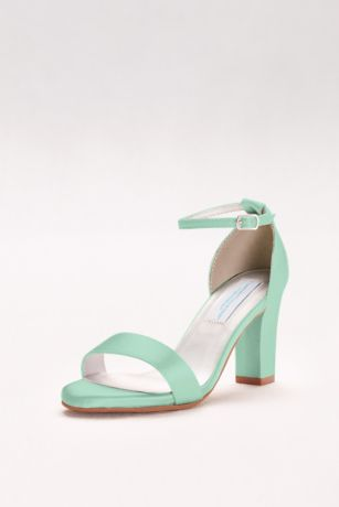 Dyeable Ankle-Strap Block Heel Sandals