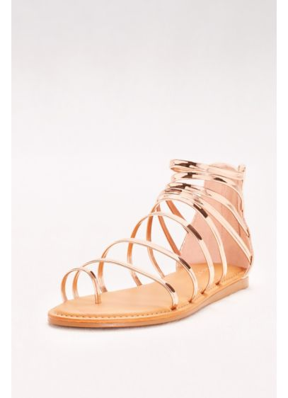 Bamboo Pink (Simple Strappy Toe-Loop Gladiator Sandals)