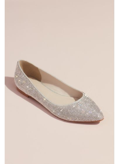 David's Bridal Grey (Allover Crystal Metallic Almond-Toe Flats)