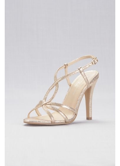 Strappy Metallic Foil High-Heel Sandals - Wedding Accessories