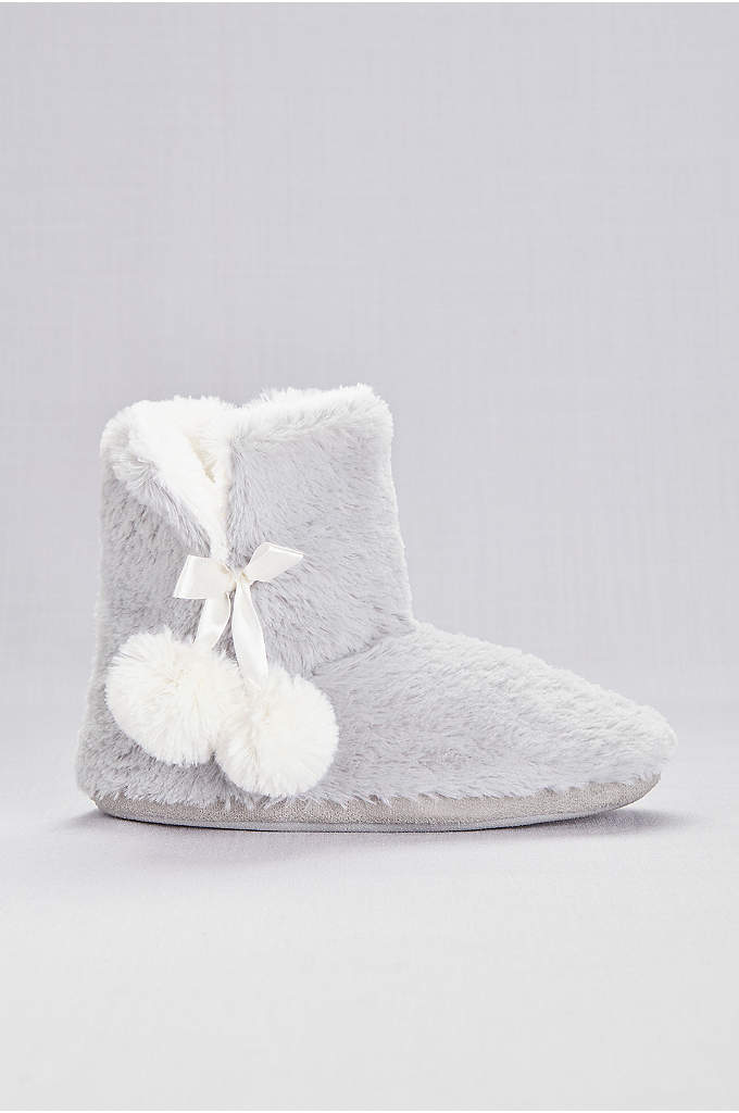 Faux-Fur Slipper Booties with Pom Poms - Keep your feet toasty in this pair of