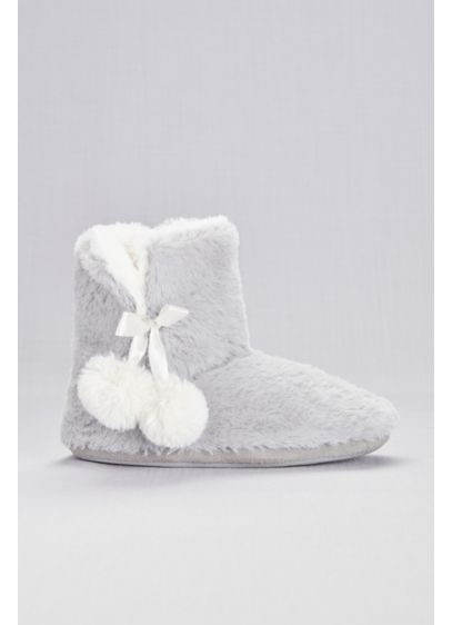 Capelli White (Faux-Fur Slipper Booties with Pom Poms)