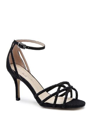 Pink Paradox Black;Grey;Ivory Heeled Sandals (Shimmery Crisscross Heels with Iridescent Stones)