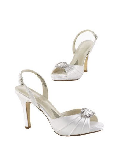 White (Dyeable Satin Sandal with Crystal Ring Detail.)