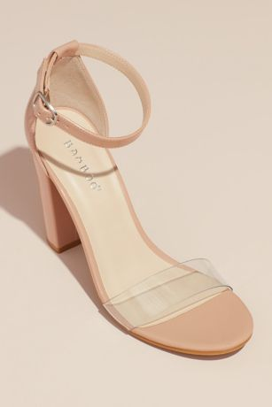 Bamboo Beige Heeled Sandals (Clear Band Block Heel Ankle Strap Patent Sandals)