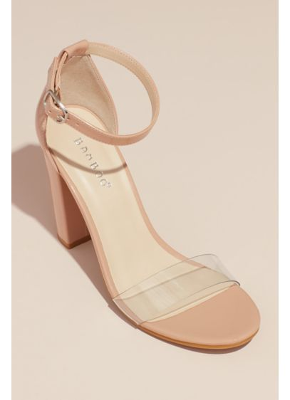 Clear Band Block Heel Ankle Strap Patent Sandals - Show off this stunning sandal with a short