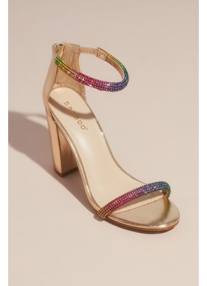 Rounded Crystal Straps Metallic Block Heel Sandals - A play on the modern minimalist heeled sandal,
