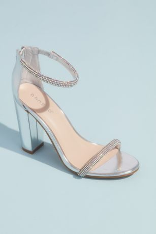Bamboo Grey Heeled Sandals (Rounded Crystal Straps Metallic Block Heel Sandals)