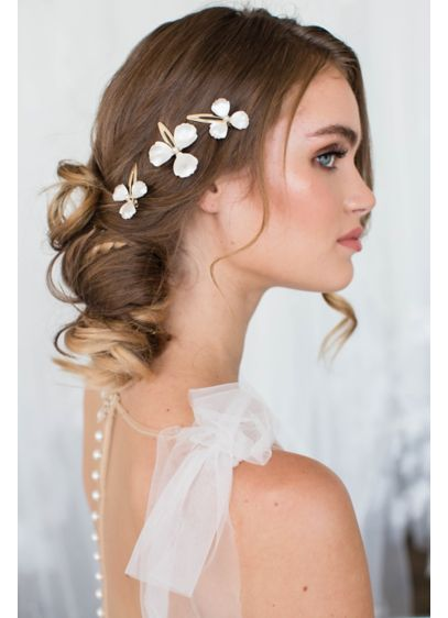 Whitewashed Petal Hair Clip Set with Pearl Accents - Wedding Accessories