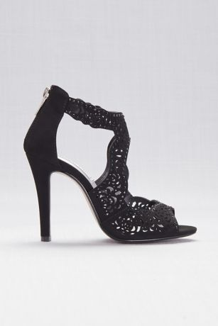 Touch Ups Black;Ivory (Perforated High Heel Sandals with Back Zip)