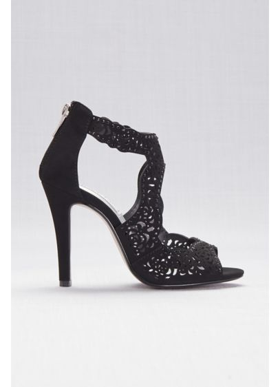 Touch Ups Black (Perforated High Heel Sandals with Back Zip)
