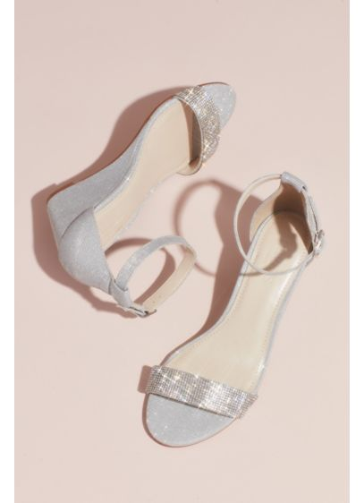 David's Bridal Grey (Crystal-Topped Wedge Sandals with Ankle Strap)