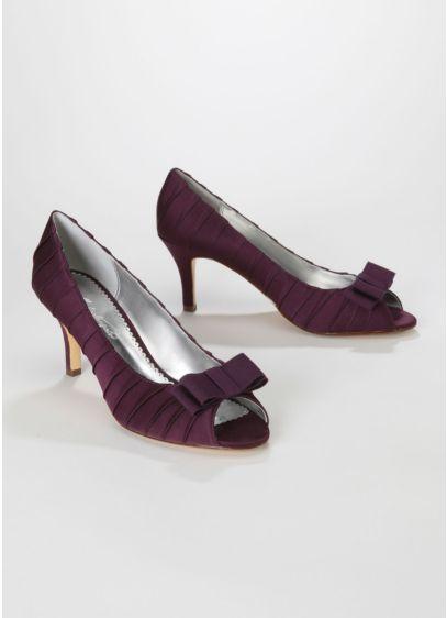 Purple (Satin Pleated Peep Toe Mid Heel with Bow)