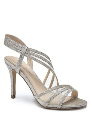 Pink Paradox Grey;Ivory Heeled Sandals (Triple Strap Glitter Sandals with Mesh Insets)