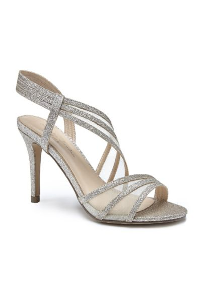 Pink Paradox Grey (Triple Strap Glitter Sandals with Mesh Insets)