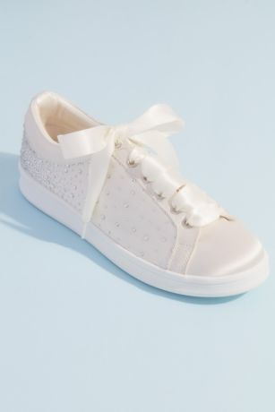 Jewel Badgley Mischka Ivory Sneakers and Casual (Crystal Embellished Satin Wedding Sneakers)