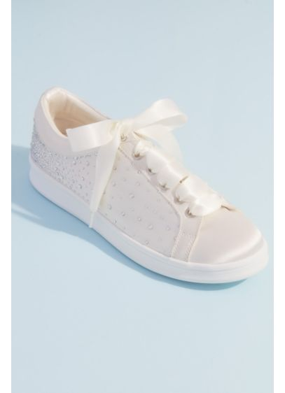 Crystal Embellished Satin Wedding Sneakers - These shimmering satin sneaks glitter with crystal embellishments