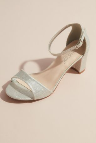 Blossom Grey Heeled Sandals (Glittering Metallic Ankle Strap Block Heel Sandals)