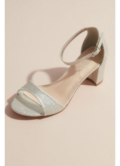 Blossom Grey (Glittering Metallic Ankle Strap Block Heel Sandals)
