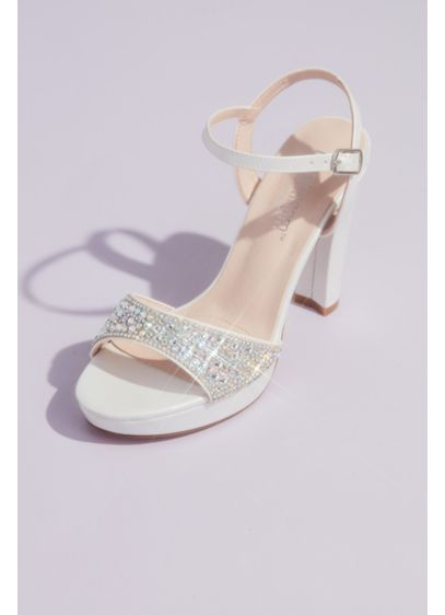 Crystal Vamp and Satin Block Heel Platform Sandals - With a sparkling crystal vamp and a supportive