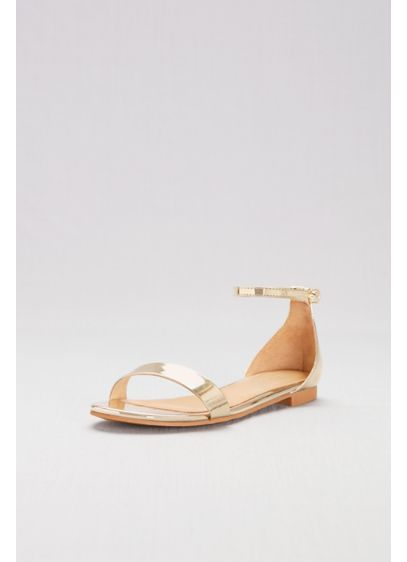 David's Bridal Yellow (Single-Strap Mirror Metallic Flat Sandals)