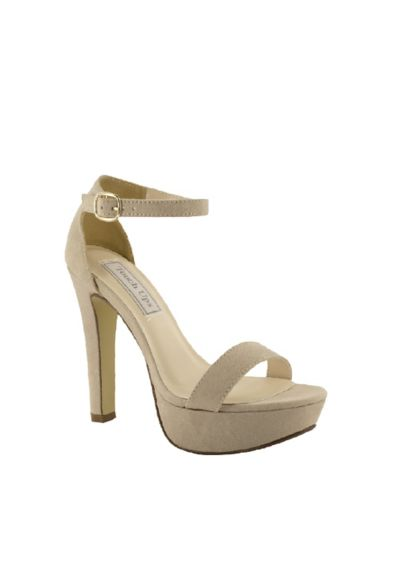 Touch Ups Beige (Vegan Suede Platform Ankle Strap Sandals)