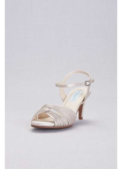 Dyeables Blue (Pleated Crisscross Low-Heel Sandals)