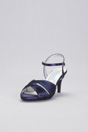 Dyeables Blue;Grey;Ivory Sandals (Pleated Crisscross Low-Heel Sandals)