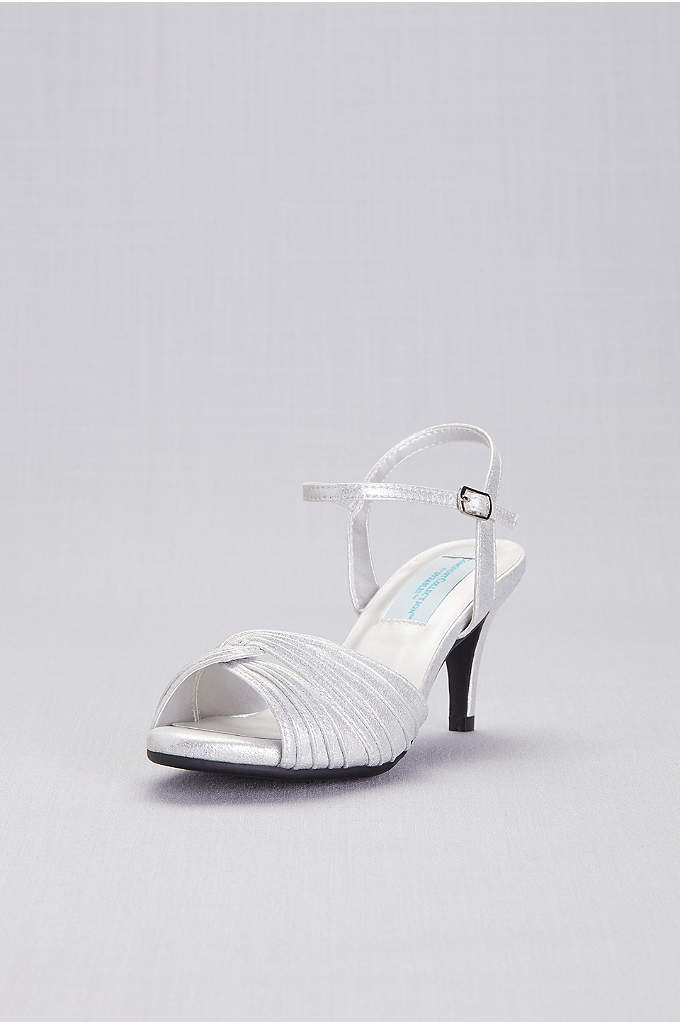 Pleated Crisscross Low-Heel Sandals - Memory foam padding makes these prettily pleated sandals