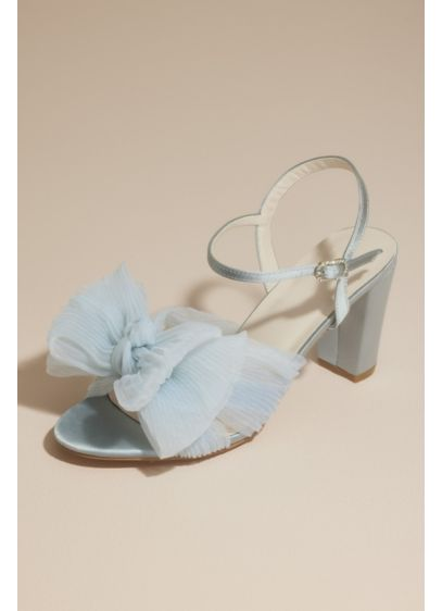 David's Bridal Pink (Pleated Chiffon Bow Mid-Heel Sandals)