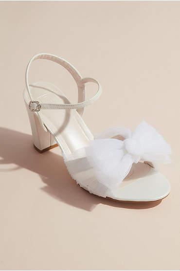 Pleated Chiffon Bow Mid-Heel Sandals