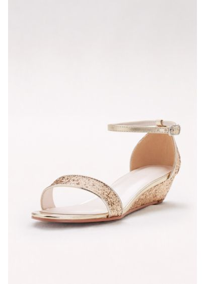 David's Bridal Blue (Glittery Low-Wedge Sandals)