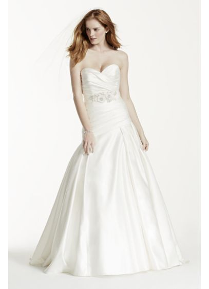 Strapless Satin A-Line Wedding Dress with Ruching | David\'s Bridal
