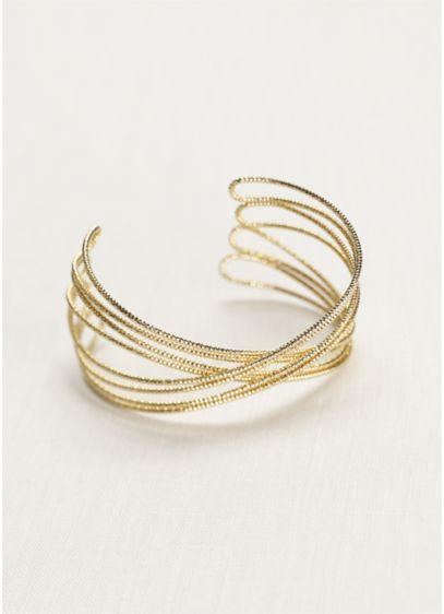 Diamond Cut Metal Crisscross Cuff - Wedding Accessories
