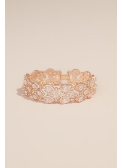 Natasha Grey (Cubic Zirconia Halo Pear Three-Row Bracelet)