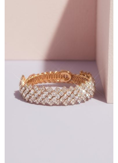 Flexible Zigzag Iridescent Crystal Cuff - Wedding Accessories