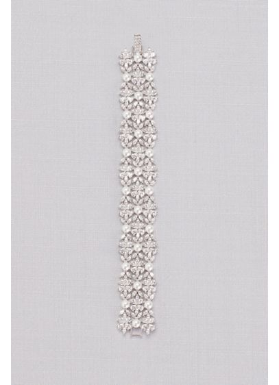 Grey (Cubic Zirconia and Pearl Wide Floral Bracelet)